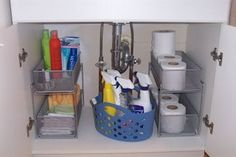 Under the Bathroom Sink - use pull out drawers for bottles and other items. Use a carry tote to store cleaning supplies. Make use of vertical space!