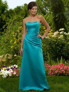 Vestidos de madrina palabra de honor azul turquesa