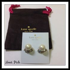 """FLASH SALE ⚡️ Kate Spade ♠️ Pearl & Crystal Studs Darling earrings for dress or casual wear. Faux pears, gold plated metal. 14-karat gold filled posts. Width 1/2"""", drop 1/2"""" Includes dust bag. 🚫 Trades 🚫 Holds kate spade Jewelry Earrings"""