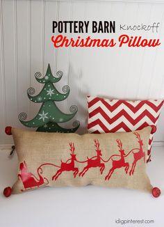 Pottery Barn Knockoff Santa And Sleigh Christmas Pillow Plus...