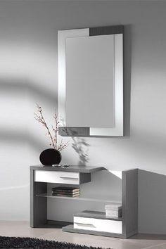 Elegante mueble recibidor de estilo moderno compuesto por espejo y mueble con dos cajones en colores ceniza-hueso y wengué-hueso.