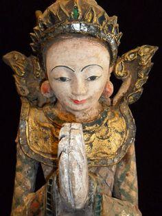 Antique 19c H 127 cm RARE Burmese Wood Carved Angel