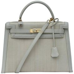 Authentic Vintage Hermes Kelly Bag handbag 32 cm Crinoline and leather Beige Gold Hdw Horse Hair Hermes Bags, Hermes Handbags, Luxury Handbags, Leather Handbags, Fashion Handbags, Sac Hermes Kelly, Horse Hair, Grey Leather, Totes