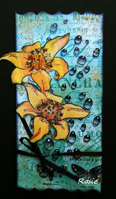 Rosie's Bastelwelt: Daylily with water droplet stamps by Designs by Ryn