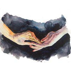 Original People Painting by Tugba Duymaz Watercolor Paintings, Original Paintings, Original Art, Figurative Art, Artwork Online, Buy Art, Blue Orange, Dark Blue, Paper Art