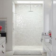 Justine Hugh Jones Design - bathrooms - open shower, walk in shower, shower skylight, skylight in shower, rain shower head, shower niche, ba...