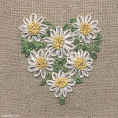 Wonderful Ribbon Embroidery Flowers by Hand Ideas. Enchanting Ribbon Embroidery Flowers by Hand Ideas. Embroidery Hearts, Simple Embroidery, Silk Ribbon Embroidery, Hand Embroidery Patterns, Embroidery Applique, Cross Stitch Embroidery, Flower Embroidery, Embroidery Thread, Embroidery Tattoo