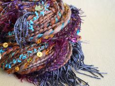 HANDSPUN super bulky ART yarn, Polwarth Wool, Astronomy yarn, by @Banannin.