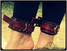 "Asylum cuffs in ""Steampunk"" Brown with brass fixing, sized for ankles or thigh, £20 per pair"