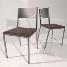 silla en color wengue y estructura en plata mate para cocina comedor o cafeteras