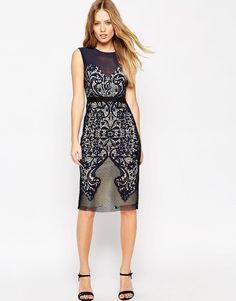 Image 4 of ASOS Lace Embroidered Paneled Midi Body-Conscious Dress