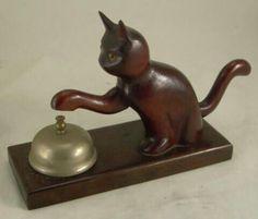 Vintage Bell Bronze Figurine Reception Bell with Cat Head Hotel Bronze Bell Cat Bell