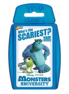 Monsters University tells the story of how Sulley and Mike came to meet, and, as well as our two favourite monsters, is packed with other scary students! All the fraternities of Monsters U and Fear Tech are included – who's the scariest, the funniest, and the most monstrous?  http://shop.winningmoves.co.uk/products/great-new-games/5036905020756-top-trumps-monsters-university.html