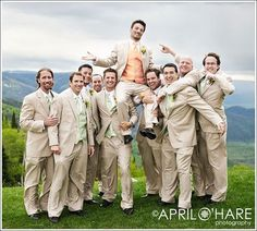 groom wearing different color from groomsmen