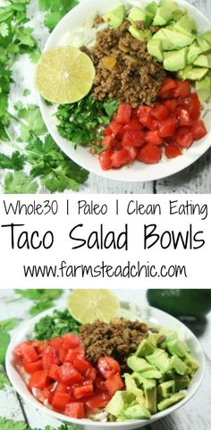These Whole30, Paleo Taco Salad Bowls are a healthy, quick and easy, fresh and flavorful, completely customizable weeknight meal fit for the whole family!