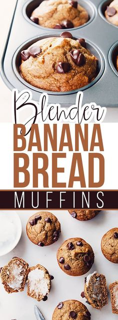 Blender Banana Bread Muffins - a gluten free and dairy free recipe! Healthy Muffin Recipes, Healthy Muffins, Breakfast Recipes, Dessert Recipes, Breakfast Ideas, Banana Bread Muffins, Banana Bread Recipes, Pancake Muffins, Mixer