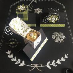 Boîte Ferrero Jolies Fêtes avec son tutoriel, papier Design Jolies Fêtes, Framelits/Thinlits : Flocons virevoltants, Superpositions de saison, Formes à coudres, Pyramide de cercles par Marie Meyer Stampin up - http://ateliers-scrapbooking.fr/ - Ferrero Box tutorial, Merry Little Christmas Paper, Swirly Snowflakes, Seasonal Layers, Stitched Shapes, Layering Circle - Ferrero Box Anteilung, Papier Frohes Fest, Formen Flockenreigen, Aus jeder Jahreszeit, Stickmuster, Lagenweise Kreise