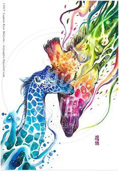 Mother's Love - Giraffe Watercolor Painting : Jongkie Art Print Art Print by jongkie - X-Small Watercolor Animals, Watercolor Paintings, Original Paintings, Animal Drawings, Art Drawings, Mädchen Tattoo, Giraffe Tattoos, Afrique Art, Image Chat
