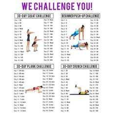 Here's an idea one of the people I coach gave me. A 30 day squat, plank and push up challenge. For a more current version of this challenge go here:  Each day, after you get up and before yo...