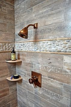 Rustic Bathroom Tile very rustic shower with the wood looking porcelain tiles on the