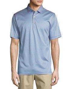 Sean Classic-Stripe Cotton Lisle Polo Shirt, Blue