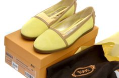 TOD'S Cassetta Leggera Yellow Suede Brown Leather Women's Flats Shoes 40