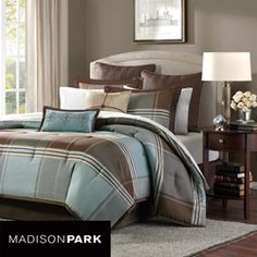 Madison Park Davenport Blue/ Brown 8-piece Queen-size Comforter Set