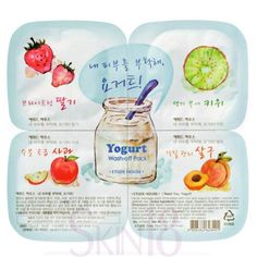 - Yogurt facial pack supplies nourishment and moisture replenishment for skin softening, antioxidant care. - One pack includes 4 capsules (four kinds) of Yogurt Wash-Off masks with fruity ingredient.