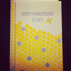 Day 17 - National Card & Letter Writing Month. Happy Anniversary Honey. Design by Smock from Syracuse, New York, USA. $4.00 #nclwm2013 #shescreative #letterpress #bee #honey #greetingcard #smock #stationery #happyanniversary