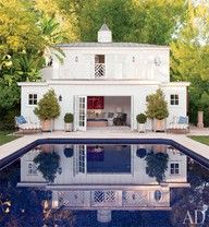"""""""Casual traditionalist, eclecticism and rustic modernist all at once"""" Peter Dunham describes his own style See more inspirations here English Architecture, Modern Architecture, Outdoor Pool, Outdoor Spaces, Roof Design, House Design, Small Office Chair, Ceiling Windows, Sliding Glass Door"""