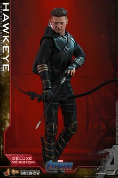 Hot Toys' Deluxe Avengers: Endgame Hawkeye action figure showcases the new look of Jeremy Renner's character. The toy comes with a masked head, a Thor, Jeremy Renner, Marvel Legends, Marvel Memes, Marvel Dc, Marvel Comics, Captain America, Hawkeye, Scarlet Witch