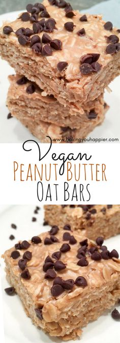 Yummy Vegan Peanut Butter Oat Bars, a texture and taste complimented by peanuts, oats, honey, and coconut oil - topped with chocolate chips!
