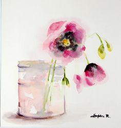 ORIGINAL Watercolor Painting. Pink Flowers in Glass door CanotStop