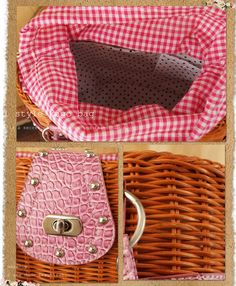 Leather and wicker handbag, gingham interior