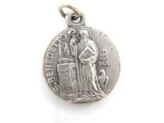 Vintage Saint Benedict Exorcism Medal - Religious Charm - Catholic Medal Jubilee St Benedict - Bracelet Charms - N14 by LuxMeaChristus on Etsy