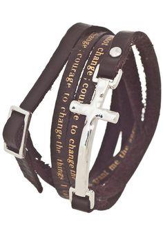 CROSS SERENITY PRAYER leather bracelet in many colors Serenity Prayer 57ae080ad3f2c