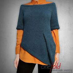 nice asymmetric knitted sweater with a simple fold V Collection, Shirt Outfit, Lana, Hand Knitting, Knitwear, Neckline, Tunic Tops, Pullover, Wool