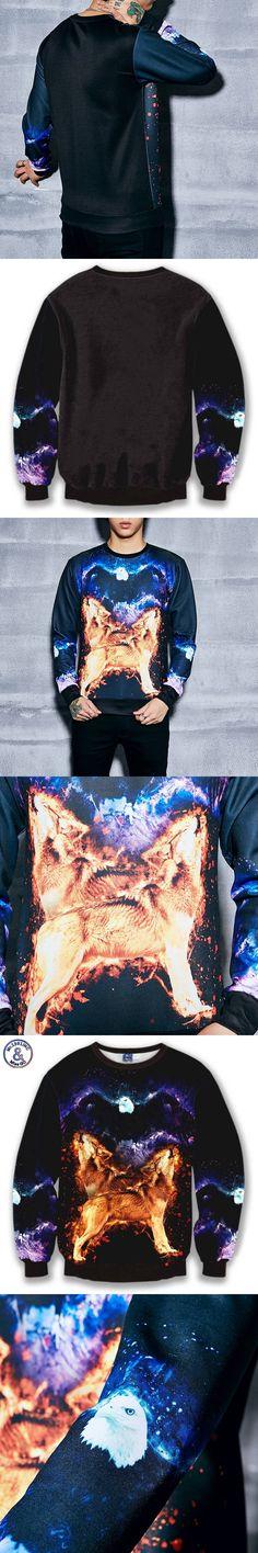 Mr.1991INC Space sweatshirts men's fashion tops print animals eagle wolf galaxy 3d hoodies sudaderas Asia S-XL