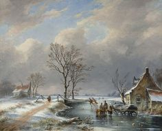 Gerardus 'George Henry' Hendriks (1804-after 1859) A winter landscape with skaters and a sledge, oil on panel 29.2 x 36.3 cm, signed lower left. Collection Simonis & Buunk, The Netherlands