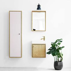 SkabRum, Cabinet in powder pink. Comes in two different colors and sizes. #oak #linoleum #brass #storage #cabinet #furniture #danishdesign #denmark #livingroom #hallway