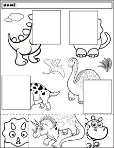 Color, cut, and match the dinosaur halves. Package includes five no prep worksheets. Great for working on those visual discrimination skills. Preschool Lessons, Kindergarten Worksheets, Preschool Crafts, Dinosaur Crafts For Preschoolers, Learning Centers, Preschool Activities, Kids Learning, Vocabulary Activities, Learning Spanish