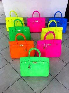 **I kinda really want a Birkin bag** Neon Hermes Birkin bags! Hermes Birkin, Birkin Bags, Hermes Bags, Hermes Purse, Hermes Handbags, Satchel Handbags, Orange Mode, Neon Bag, Neon Outfits