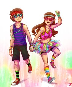 """doublepines: """" i have a headcanon that mabel gets really into the edm scene in college and drags dipper to shows with her whenever she gets the chance she's in charge of both their wardrobes and dipper just goes with it cos why the hell not he's..."""