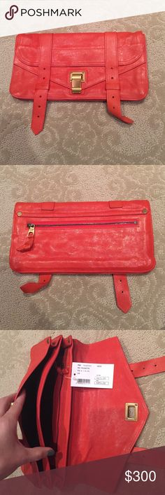 Proenza orange leather clutch. Tags still on!!! Orange leather. Excellent condition!!! Tags still on! Never used! Proenza Schouler Bags Clutches & Wristlets