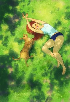 Mother Nature Drawing Illustrations Ideas For 2019 Art And Illustration, Mode Poster, Alone Art, Nature Drawing, Girl And Dog, Anime Scenery, Aesthetic Art, Cartoon Art, Cute Art