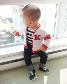 "Retro Baby Boy Outfit - 50s ""Grease"" Custom Monogram Personalized by mabelretro on Etsy https://www.etsy.com/listing/156480958/retro-baby-boy-outfit-50s-grease-custom"