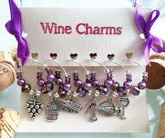 Purple Wine Glass Charms - Set of 6, Wine Gift, Vineyard Wedding Bridal Shower Favors, Vineyard Birthday, Handmade by LasmasCreations. by LasmasCreations on Etsy