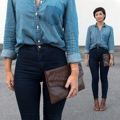 American Apparel Easy Jeans, Gap Denim Shirt, Jeffrey Campbell Heeled Peep Toe Booties
