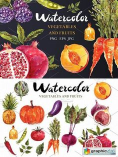Watercolor vegetables & fruits  stock images