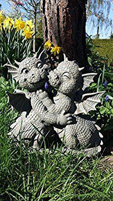 Süsser Gartendrache Liebespaar küsst sich Drache Figur Gartenfigur Liebe